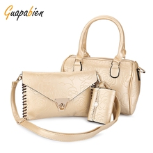 Guapabien Leather Big Kit Bag Women Handbags Ladies Messenger 3pcs Boston Tote Bag Shoulder Bags Set Mini Pouch Gift for Friend