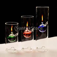 Cylinder Glass Oil Kerosene Alcohol Lamp Burner Atmosphere Lighting Wedding Home Decor 3 Sizes