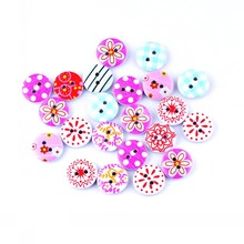 Free Shipping 50Pcs Random Mixed 2 Holes Print Flower Wood Buttons 15mm Dia. Sewing Tools For Diy Clothing Accessories F0586F