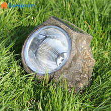 LumiParty 3LED Solar Powered Decorative Resin Stone Spot Light, Outdoor Water Resistant LED Landscape Lamp for Garden/Yard(China)