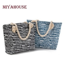 Miyahouse Large Capacity Women Shopping Bag Jean Denim Design Letters Printed Beach Bag For Female High Quality Casual Tote Bag