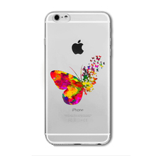 Fashion Phone Cases for iphone 6 6plus Pink Love Heart Watercolor Butterfly Transparent Silicon Protective Cell Phone Cover Capa