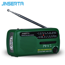 JINSERTA Portable Mini Fm Radio FM MW SW Crank Dynamo Solar Emergency Radio Receiver Speaker With Built-In Speaker(China)