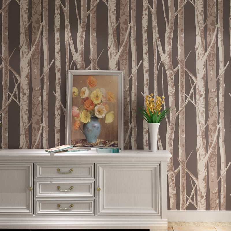 Birch Pattern Forest Wallpaper Non-woven Woods Wall Paper Roll Modern Simple Brown Wallpapers For Living Room<br>