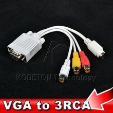 10pcs VGA to S Video 3 RCA Composite AV TV Out Converter Adapter S-Video Signal Cable for Laptop Tablet PC Notebook Computer