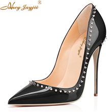 Supperstar Fashion Rivets Black Pink Red Patent Leather Womens High Heels Shoes Sexy Pointed Toe Pumps Stiletto Evening Shoes