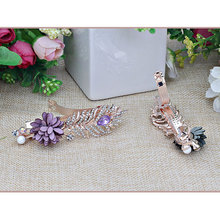 BB Clips Peony Rhinestone Barrettes Hairpins Floral  Top Hair Clips Women Girls Barrettes Hair Accessories Hairgrips