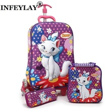 Brand 3D boy anime trolley case kids Climb the stairs luggage Travel rolling suitcase girl cartoon Pull rod box child pencil box(China)