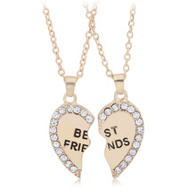 Best Friend Forever Suspension Paired Heart Pendants For Two Friends Couple Chain Necklace Gift Girlfriend Fine Jewelry