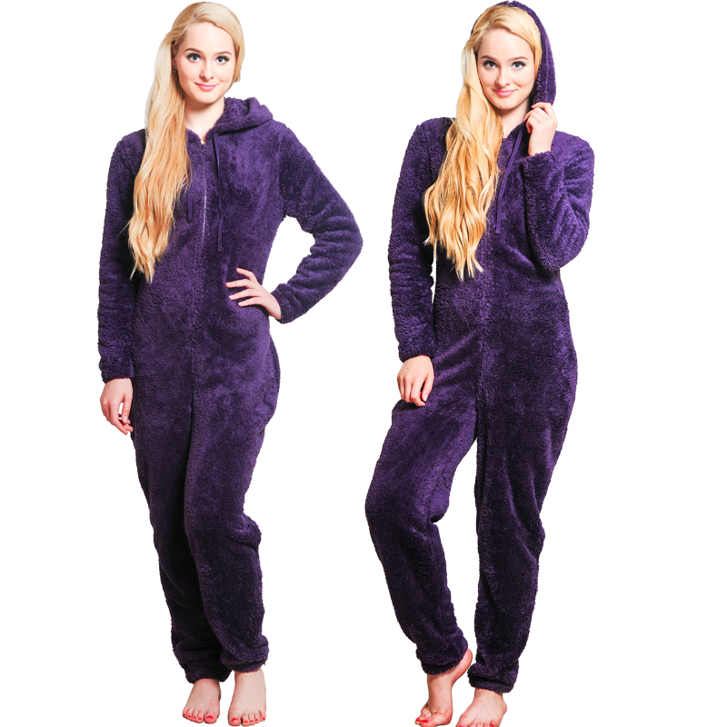 Winter Warm Pajamas, Women's Sleepwear Fleece Pajamas Set, Lounge Hooded Pajamas 10