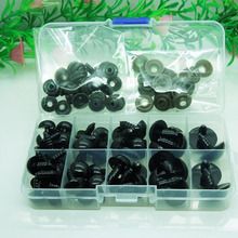 Plastic eyes 12/14/16/18/20mm Black Safety Eyes / Plastic Doll eyes  For Bear Doll Animal Puppet Making - 52pcs/lot with box