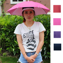 New Outdoor Foldable Sun Umbrella Hat Golf Fishing Camping Headwear Cap Head Hat Woman Lady Creative Outside