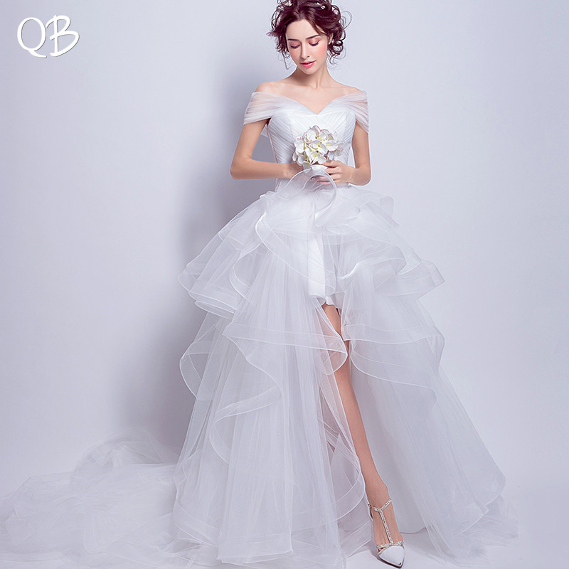 High Low Ruffle Tulle Fluffy Sexy Elegant Wedding Dresses 2019 New Fashion Bridal Dresses Wedding Gowns WE45