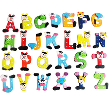 Wood 26 Alphabet Letters Fridge Magnets Baby Educational Learning Toys Wall Stickers Decorative Refrigerator Board Home Decor(China)