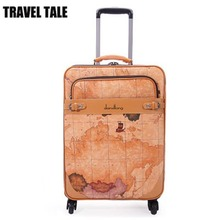 "TRAVEL TALE 16""18""20""22""24""Spinner Wheels Fashion Girl  Pu Leather Suitcase Trunk Vintage Luggages Rolling Luggage for Women"