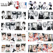 Tracy Simple Nail 1 Sheets Water Transfer Tattoo Full Tips Nail Art Beauty Sexy Lady Women Sticker Nail Decals New TRBN025-036