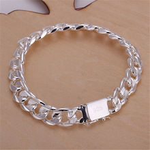 silver bracelets new list high -quality WOMEN MEN noble solid fashion jewelry gifts Mens 10MM square nice jewelry Bracelets
