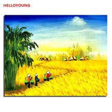 YH278 DIY Handpainted Oil Painting Harvest Digital Painting by numbers oil paintings chinese scroll paintings Home Decor