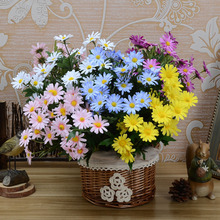 LS New 24 heads/bouquet spring lovely daisy silk samll sunflower home decoration Photo props artificial chrysanthemum flower(China)