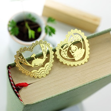 new creative gifts original openwork lace design aesthetic custom metal bookmark diameter of 3.5cm 1 piece(China)