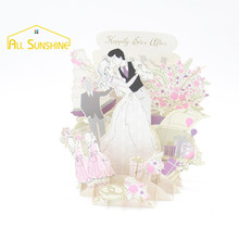 Wedding Couple 3D Laser Cut Pop Up Greeting Cards Creative Gifts Handmade Postcard Birthday Wishes Card Party Invitation Cards