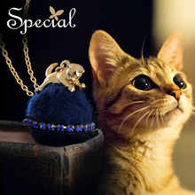 Special Fashion Lovely Cat Maxi Necklace Little Animal Long Necklaces & Pendants Gold Cats Jewelry Gifts for Women S1630N(China)