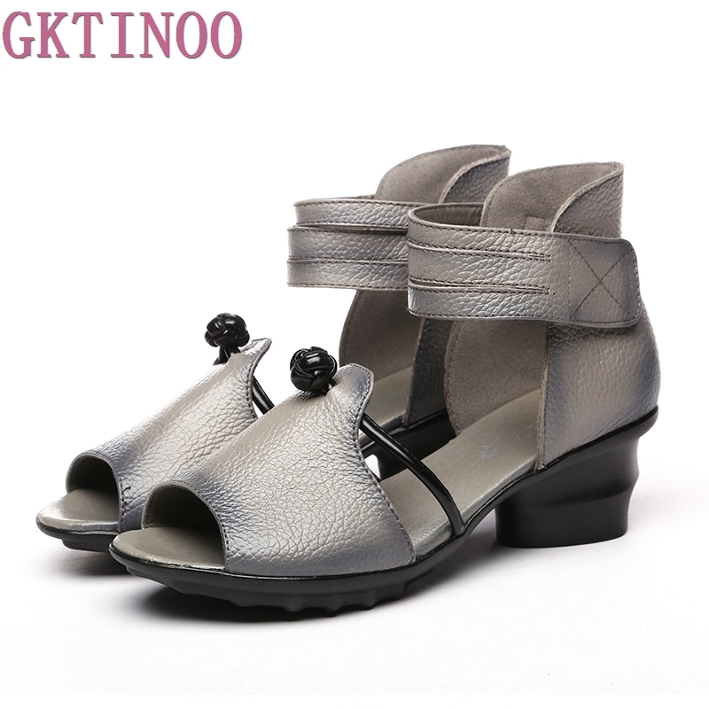 Ethnic Style Summer Genuine Leather Shoes Women Sandals Peep Toe High Heels Print Leather Sandals Ladies Shoes<br>