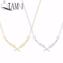 QIAMNI Thunder Lightning Bolt Charm Necklace Pendant Collares Cool Jewelry Gift Necklace for Girls and Women