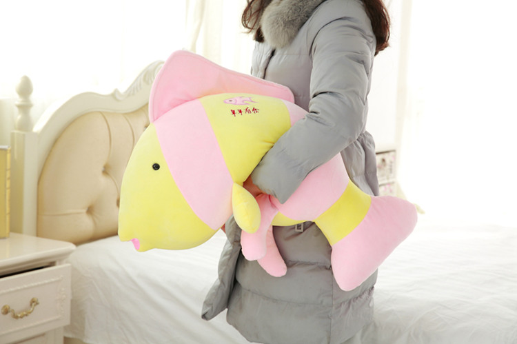 middle plush pink fish toy  creative soft fish pillow doll gift about 68x30cm<br>