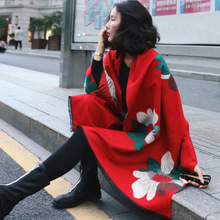 Winter Luxury Women Sweater shawl Fashion Imitation Cashmere Cardigan Wrap Soft Floral Square Shawl Sleeveless Pashmina(China)