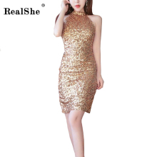 Buy RealShe 2018 Sexy Sequins Short Dress Women Sleeveless Halter Slim Bodycon Bandage Gold Black Mini Club Party Dresses Vestidos