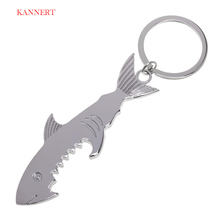 KANNERT Shark Shaped Bottle Opener Keychain shaped zinc alloy Silver Color Key Ring Beer Bottle Opener Unique Creative Gift(China)