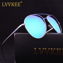 2017 NEW LVVKEE Luxury Brand Aviator Polarized Men Flower Carving women Driver Mirror sunglasses Gafas Oculos pink Silver UV400(China)