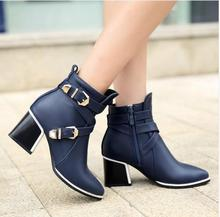 Women Boots Thick Heel Boots Ankle Boots Pointed Toe Spring Ladies Boots Female Zip Buckle Blue Red Shoes Large Size 34-43