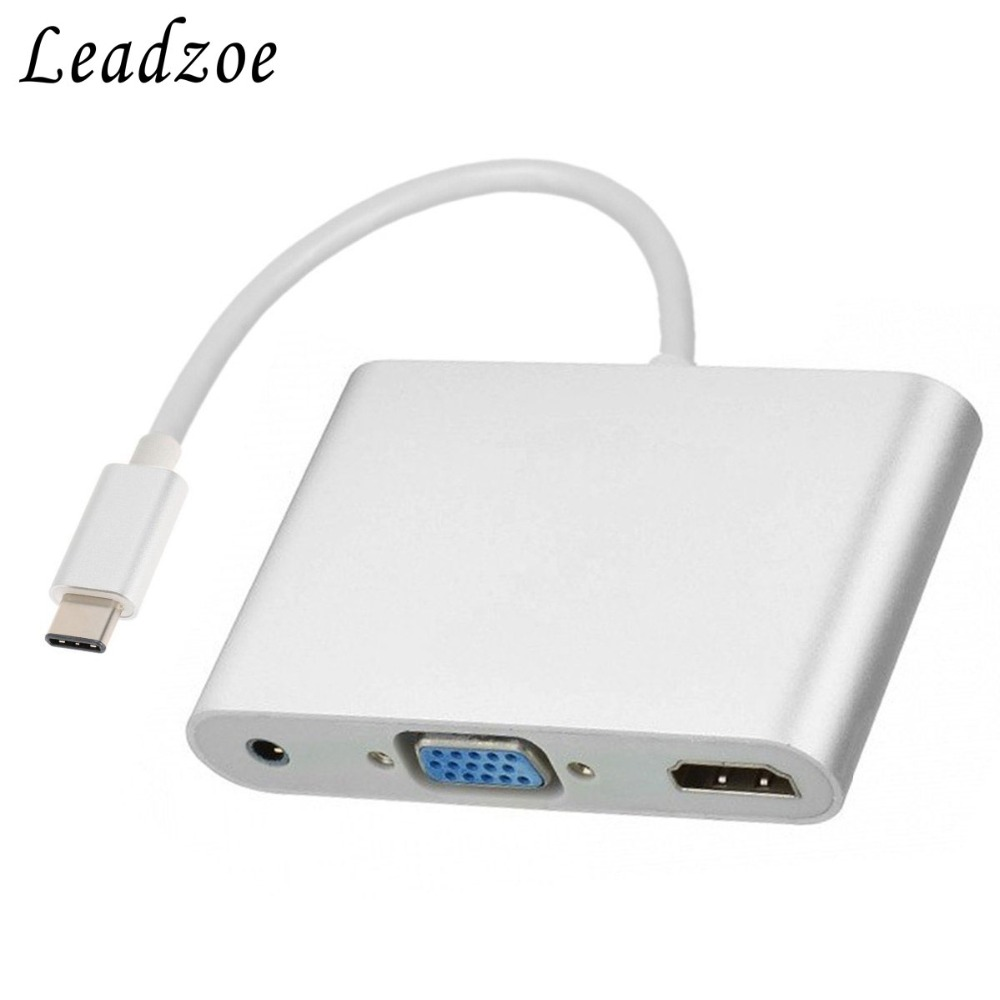USB C to HDMI VGA Multiport Adapter 3-in-1 USB 3.1 Type C 4K HDMI Digital AV &amp; VGA Adapter with 3.5mm Audio Charging Leadzoe<br>