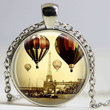 Eiffel Tower Necklace Paris Jewelry Travel Hot Air Balloons France Art Pendant Bronze or Silver Plated Chains Statement Neckalce(China)