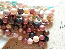 (Mini order $10) 10MM 39Pcs/pack Shell Powder & Dyeing Pearl Loose Strands Diy Jewelry Beads