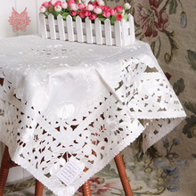 European style white floral embroidery Table Cloth lace table cover nappe de table rectangle tablecloth toalha de mesa SP3811