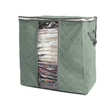 Hot Sweater Blanket Closet Transparent Windows Storage Bags Case Box Folding Clothing Organizer 2 Colors For Choose