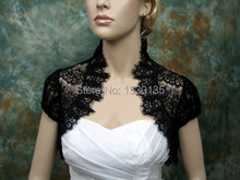 2016 Black Lace Winter Wedding Accessories Shawl Bridal Short Sleeve special occasions Jackets Wraps High Clollar Boleros HYD742