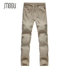 MOGU 2017 New Arrival Plus Size M-5XL Trousers For Men High Quality Cotton Linen Casual Pants loose linen pants Men