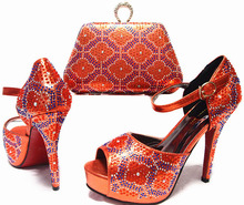 US Size 7.5-10 ORANGE thin high heel Italy shoes and bags sets JA10-2 (3) African ladies pumps and handbag for party dresses