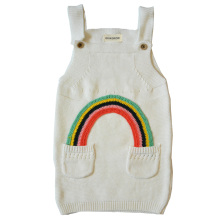 QUIKGROW Fashion Baby Girls Knitted Sweater Dress with Pockets Infant Rainbow Sleeveless Strap Knitwear NY09MY(China)