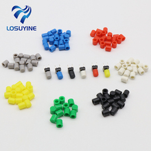 100pcs/lot Red Black Yellow Blue White Gray  Plastic Cap Hat for 6*6mm G61 Tactile Push Button Switch Lid Cover