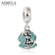 AIMELA 925-Sterling-Silver-Jewelry Green Seashell Ariel Mermaid Pendant Charm Beads For Jewelry Making Fits Charms Bracelets DIY