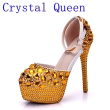 Crystal Queen Wedding Shoes Bridal Sandals Women Girl Gold Glitter Fake Crystal Evening Party Dress Shoes High Heels