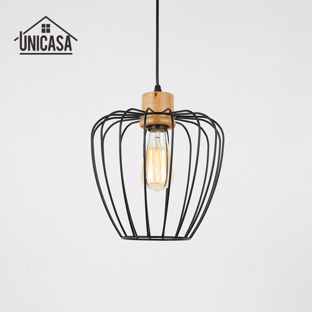 Industrail Wrought Iron Pendant Lights Vintage American Country Lighting Kitchen Island Office Antique Wood Pendant Ceiling Lamp<br>