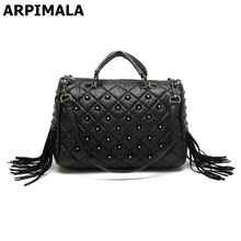 ARPIMALA 2017 Winter Luxury Handbags Women Bag Designer Tote Bags Stud Fringe Big Punk Hand Bags Ladies High Quality Shopper Bag(China)