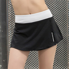 Women's Sports Skirt Summer Slim Body Skort Female Fitness Running Culottes Tennis Clothes Skirts for Girls with Safety Pants