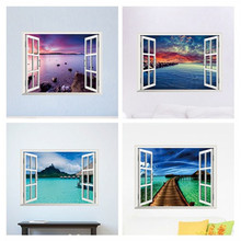 Beautiful sky tropical ocean 3D window view blue sea home decor wall sticker creative scenery living room office decals stickers(China)